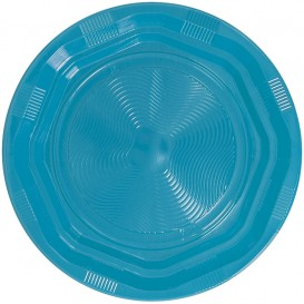 Prato Profundo Rigido Redondo Octogonal Plastico PS Azul Claro Ø220 mm (250 Unidades)