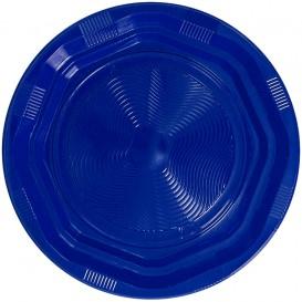 Prato Redondo Octogonal Plastico PS Azul Ø170 mm (25 Unidades)