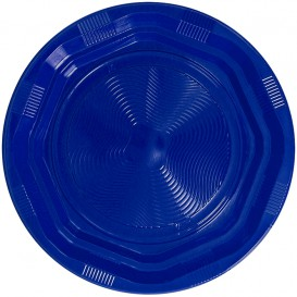 Prato Redondo Octogonal Plastico PS Azul Ø170 mm (425 Unidades)