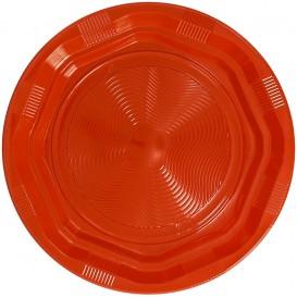 Prato Redondo Octogonal Plastico PS Laranja Ø170 mm (425 Unidades)