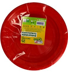 Prato Amido Milho PLA Raso Vermelho Ø220 mm (25 Unidades)