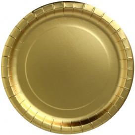 """Prato de Cartão Redondo Ouro """"Party Shiny"""" Ø340mm (45 Unidades)"""