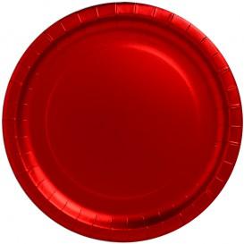 """Prato de Cartão Vermelho Redondo """"Party"""" Ø340mm (3 Unidades)"""