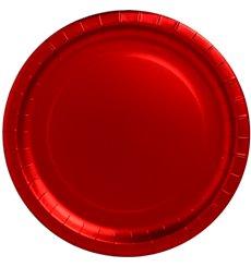 """Prato de Cartão Vermelho Redondo """"Party"""" 330mm (3 Unidades)"""