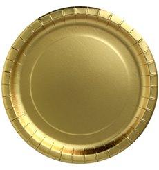 """Prato de Cartão """"Party Shiny"""" Ouro Redondo Ø180mm (300 Unidades)"""