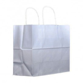 Bolsa Papel Kraft Branco con Asas 80g 30+18x29cm (25 Uds)