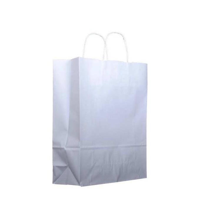 Saco Papel Kraft Branco Asas 100g 25+11x31cm (25 Uds)