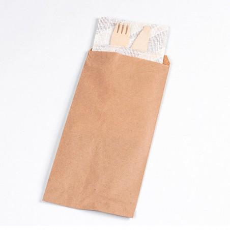 Envelopes de Talheres Kraft 9x24cm (125 Uds)