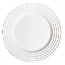Prato da Cana-de-Açúcar Branco Premium Wave Ø23cm (50 Uds)
