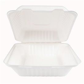 Embalagem Cana-de-açúcar com PLA Branco 20x20x7,5cm (200 Uds)