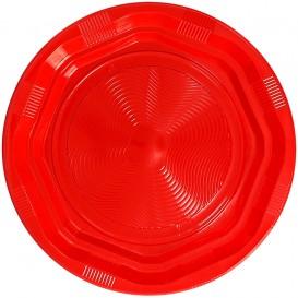Prato Plano Plastico Rigido Redondo Octogonal Vermelho Ø22cm (275 Uds)