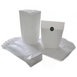 Saco de Papel Cilíndrico com Base Hexagonal Branco 17x22cm (1000 Uds)