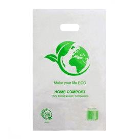Saco Plastico Asas Vazadas 100% Biodegradável 20x33cm (100 Uds)