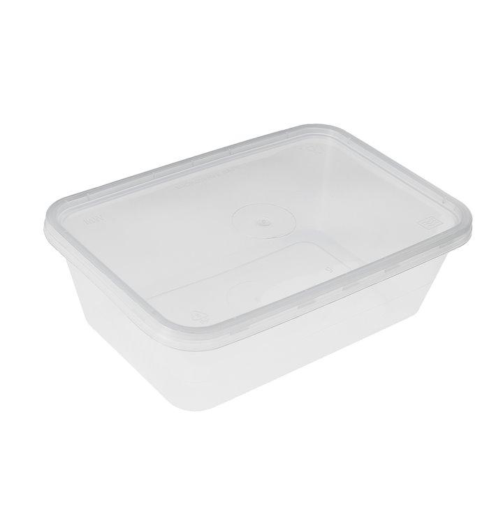 Embalagens Plastico Rectangular Transp. com Tampa 500ml (500 Uds)