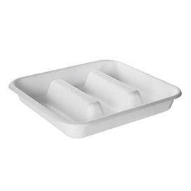 Embalagem para Tacos de Cana de Açúcar Branco 18,5x18,5cm (300 Uds)