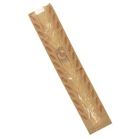 """Saco de Papel Kraft Janela """"Espigas"""" 14+7x55cm (1000 Uds)"""
