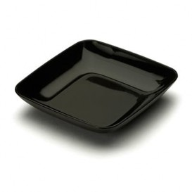 Prato Plastico Degustação Preto 6x6x1cm (50 Uds)