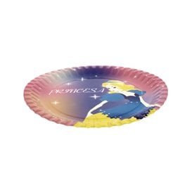 Prato Cartão Disenho Princesa 23 cm (8 Unidades)