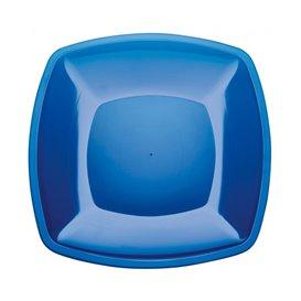 Prato Plastico Raso Azul Transp. Square PS 300mm (12 Uds)