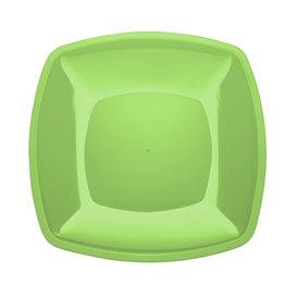 Prato Plastico Raso Verde Limão Square PS 300mm (12 Uds)