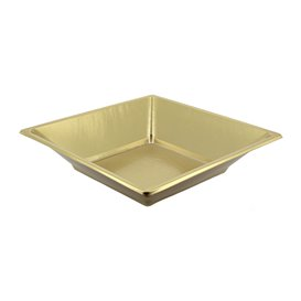 Prato Fundo Quadrado de Plastico Ouro 180mm (25 Uds)