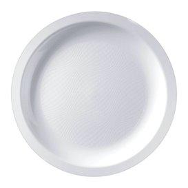Prato Plastico Raso Branco Round PP Ø185mm (600 Uds)