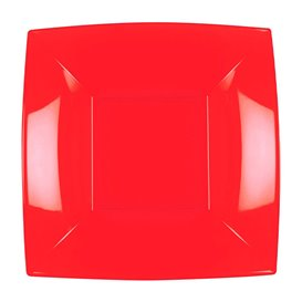 Prato Plastico Fundo Vermelho Nice PP 180mm (300 Uds)