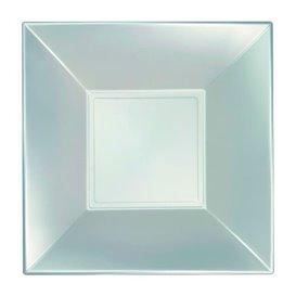 Prato Plastico Fundo Prata Nice Pearl PP 180mm (25 Uds)