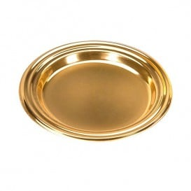 Prato Plastico Redondo Degustação Ouro 8cm (125 Uds)