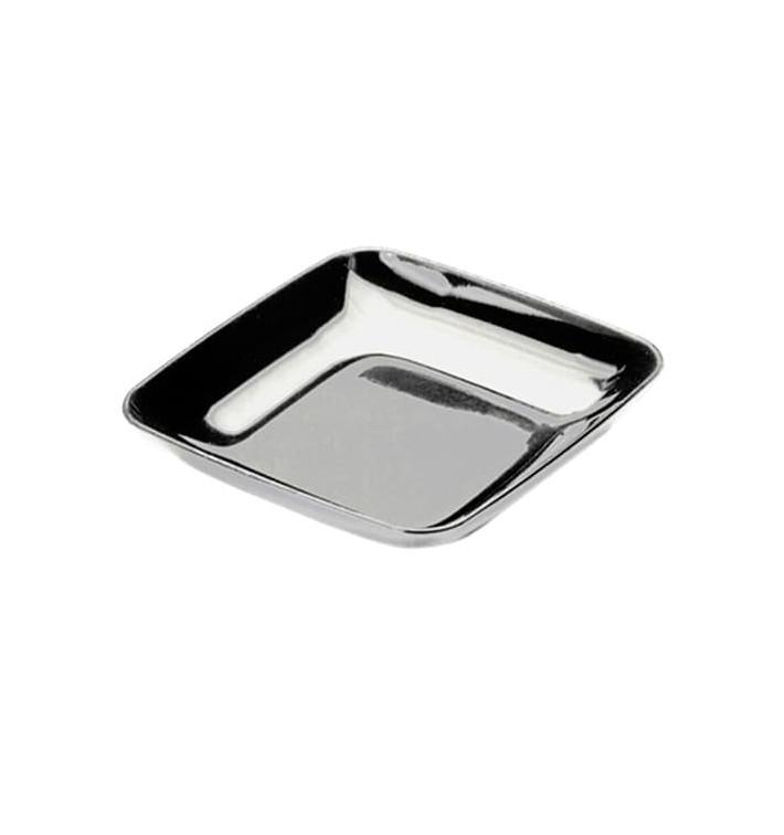 Prato Plastico Degustação Prata 6x6x1cm (200 Uds)