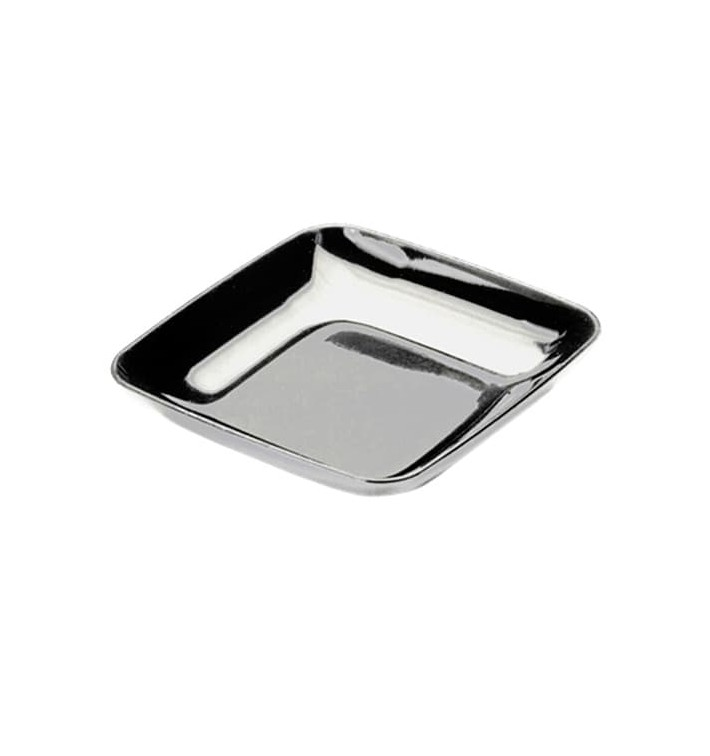 Prato Plastico Degustação Prata 6x6x1cm (50 Uds)