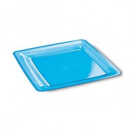 Prato Plastico Rigido Quadrado Turquesa 18x18 (6 Uds)
