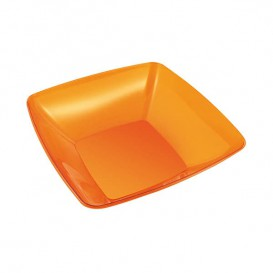 Tigela PS Cristal Duro Laranja 480ml 14x14cm (60 Uds)