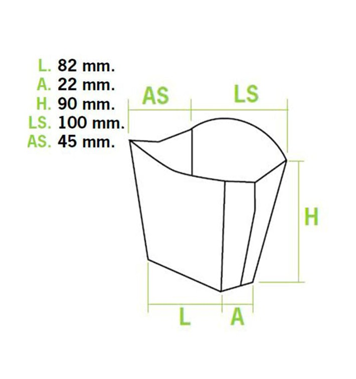 Caixa Batatas Fritas Pequena 8,2x2,2x9cm (25 Uds)