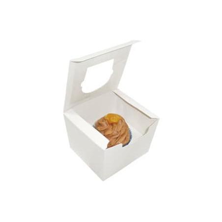 Caja con Soporte para 1 Cupcakes 11x10x7,5 Blanca B-20 (200 Unid
