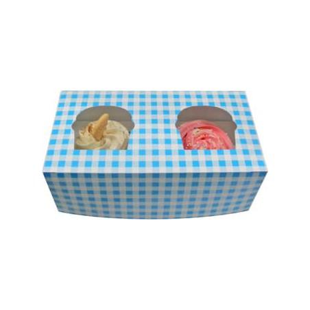 Caja con Soporte para 2 Cupcakes 19,5x10x7,5  Azul B-20 (160 Uds