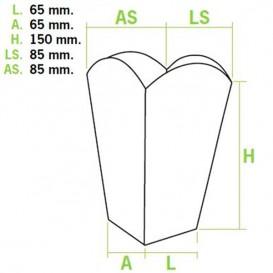 Caixa Pipocas Pequena Branca 45gr 6,5x8,5x15cm (50 Uds)
