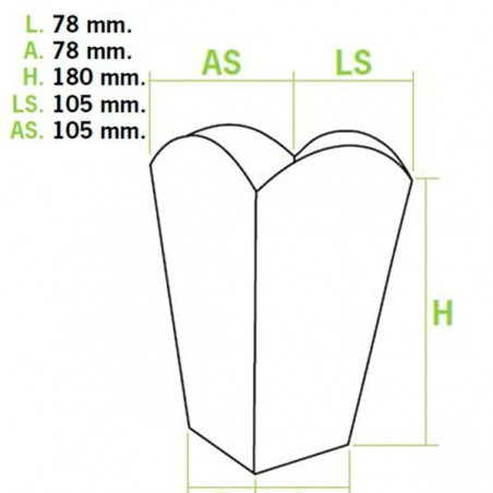 Caixa Pipocas Mediana Branca 90gr 7,8x10,5x18cm (50 Uds)