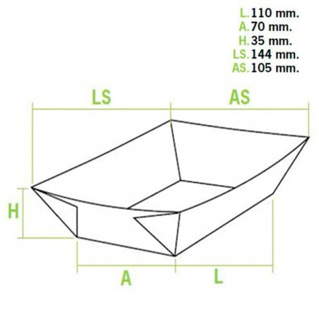 Barqueta Cartolina Kraft 11x7x3,5cm 300ml (1000 Uds)