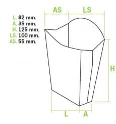 Caixa Batata Frita Mediana 8,2x3,5x12,5cm (500 Uds)