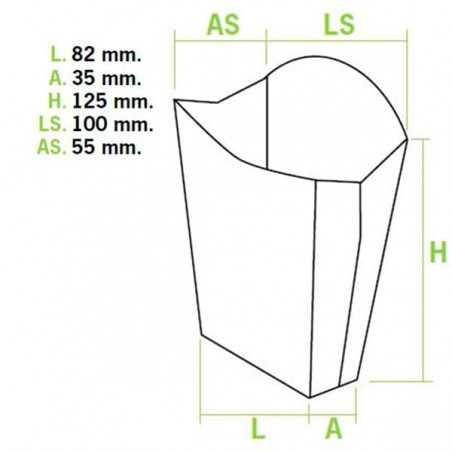 Caixa Batata Frita Mediana 8,2x3,5x12,5cm (50 Uds)