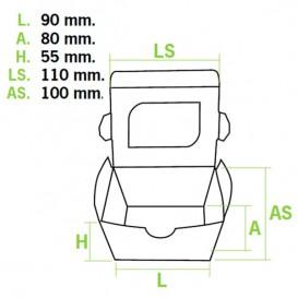 Embalagem Cartolina Janela 11x10x5,5cm 400ml (10 Uds)