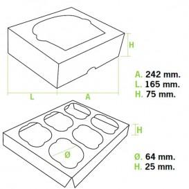 Caixa 6 Cupcakes Rosa 24,3x16,5x7,5cm (100 Unidades)