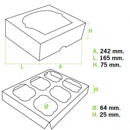Caixa 6 Cupcakes Branco 24,3x16,5x7,5cm (20 Unidades)