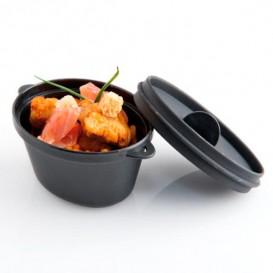 Tigela Degustação Preto com tampa 9,1 x 5,8cm (6 Uds)