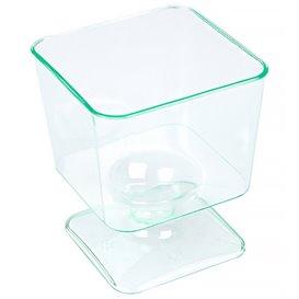 Copo Plastico Quadrado com Pé Verde Trans.  60 ml (12 Unidades)
